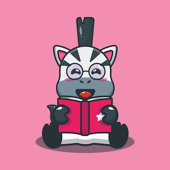 Cute zebra reading a book cartoon illustration