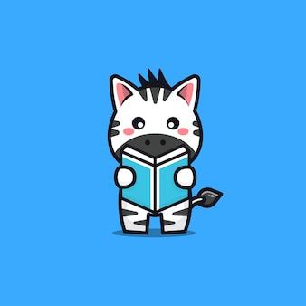 Cute zebra reading book cartoon illustration