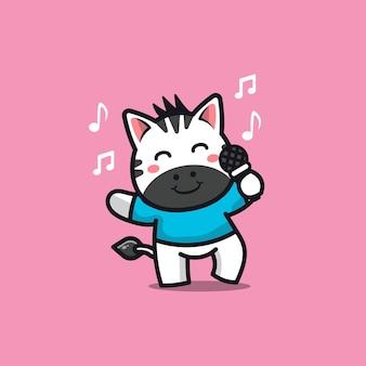 Cute zebra sing a song cartoon character illustration