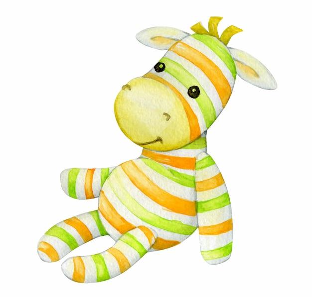 다채로운 줄무늬가있는 귀여운 얼룩말 장난감. 수채화 그림