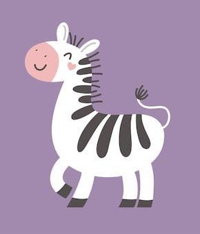 Cute zebra vector childrens illustration print