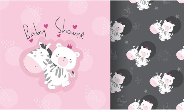Cute zebra with baby bear seamless pattern