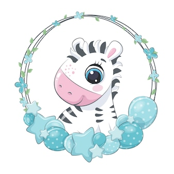 Cute zebra with balloon and wreath. illustration for baby shower.