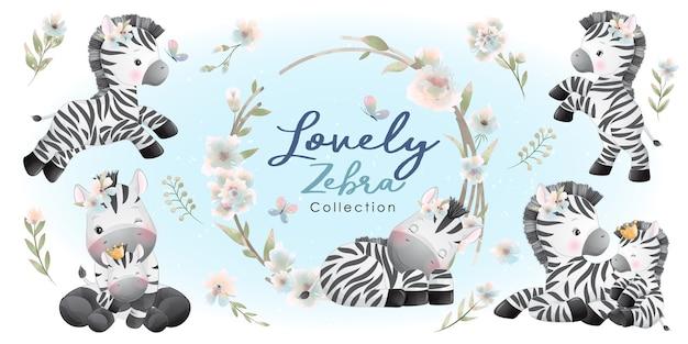 꽃 컬렉션과 귀여운 얼룩말