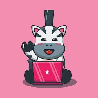 Cute zebra with laptop cartoon illustration