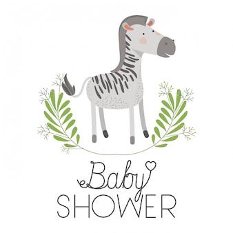 Cute zebra with wreath baby shower card