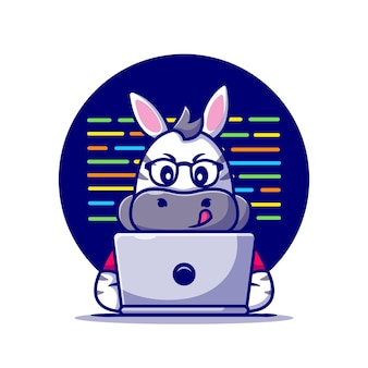 Cute zebra working on laptop cartoon icon illustration.