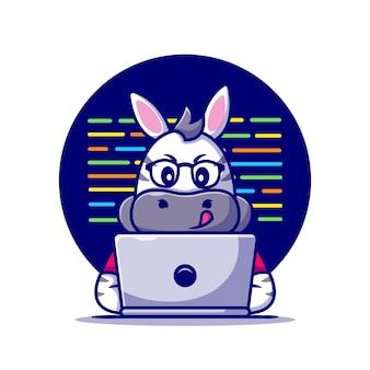 Милая зебра работает на ноутбуке мультфильм значок иллюстрации.