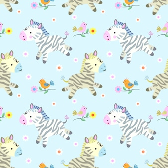 Cute zebras and birds pattern.