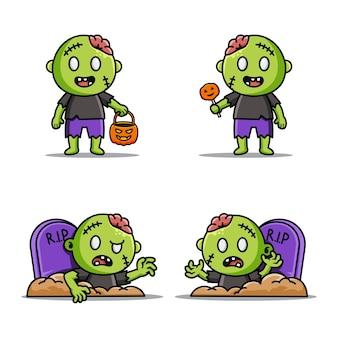 Набор милых персонажей-зомби на хеллоуин