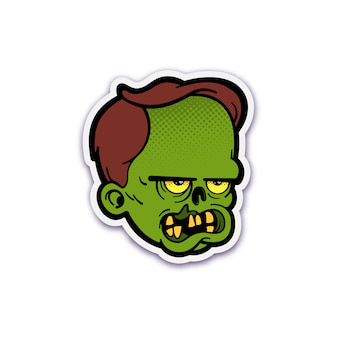 Cute zombie head sticker with dotted halftone