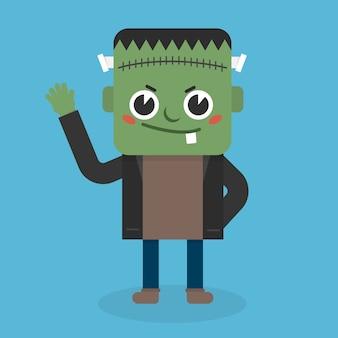 Cute zombie icon flat design.
