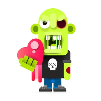 Cute zombie illustration of happy halloween