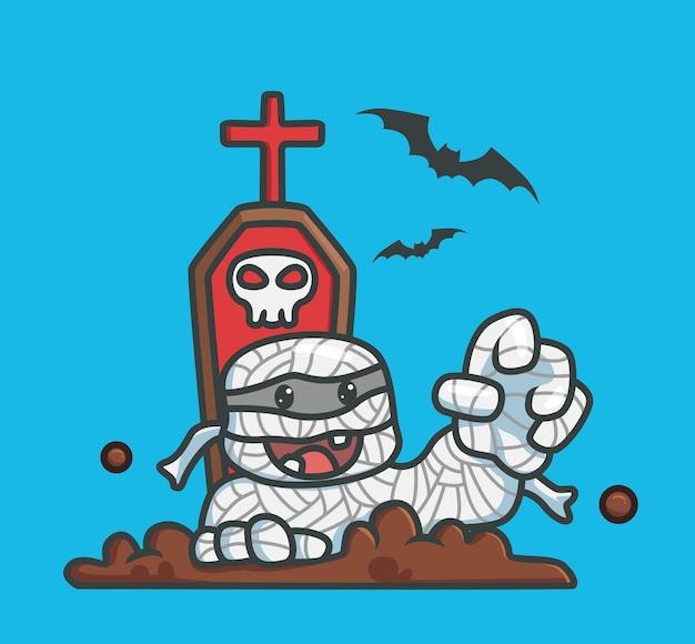 Симпатичные зомби мумия из могилы кладбище мультфильм концепция события хэллоуина изолированная иллюстрация