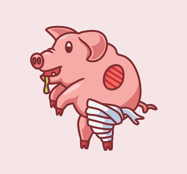 귀여운 좀비 미라 돼지 격리 된 만화 동물 할로윈 그림 플랫 스타일