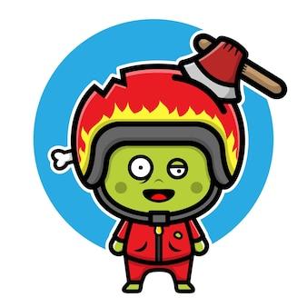 Cute zombie racer cartoon character halloween concept illustration