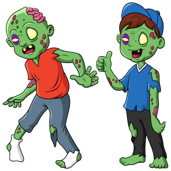 Cute zombie standing and walking