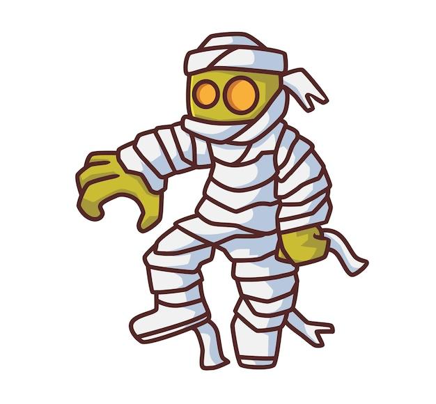 걷는 귀여운 좀비. 격리 된 만화 할로윈 그림입니다. 스티커 아이콘 디자인 프리미엄 로고 벡터에 적합한 플랫 스타일. 마스코트 캐릭터