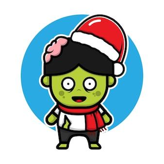 Cute zombie with santa hat cartoon vector christmas concept illustration