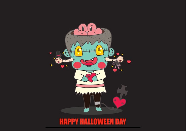 Cute zombie and worm cartoon vector