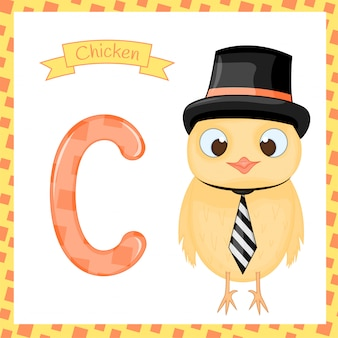Cute zoo alphabet c letter tracing of chicken