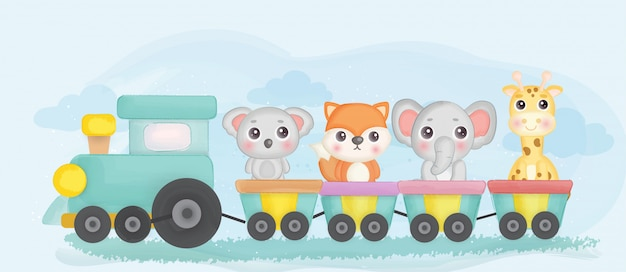 Cute zoo animals stainging on a train.