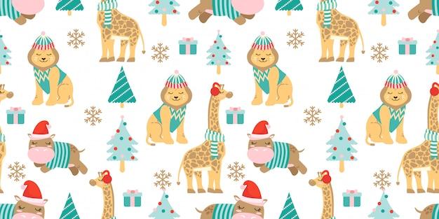 Cute zoo lion and giraffe seamless pattern