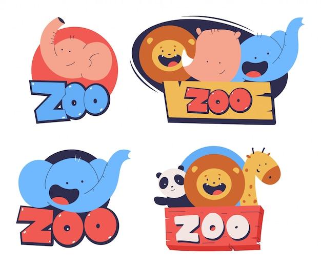白い背景に分離された動物の頭の漫画セットとかわいい動物園のロゴ。