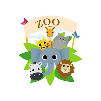 Симпатичные зоопарк саванны животных