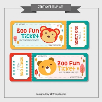 Cute zoo tickets in colors