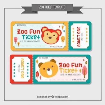 Симпатичные билеты зоопарка в цветах