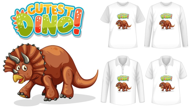 Cutest dino font and dinosaur cartoon character logo with different types of shirts