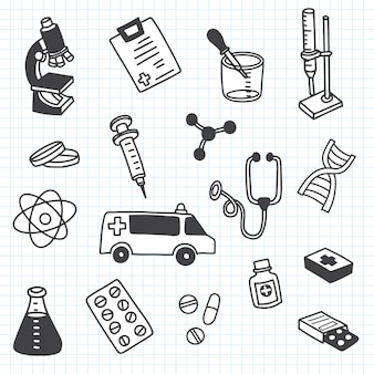 The cutest doodle medicine icon set for your design. hand drawn health care, pharmacy, medical cartoon icons collection.