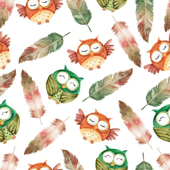 Cutest owl character and feathers watercolor seamless pattern