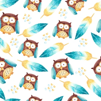 Cutest owl and feathers watercolor seamless pattern