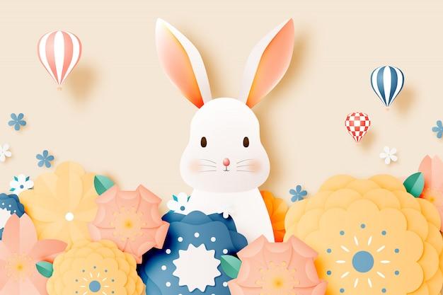 Cutet 토끼와 꽃 종이 예술