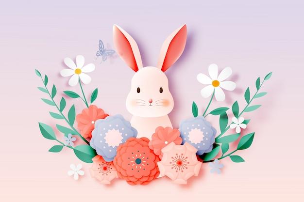 Cutet rabbit and floral paper art