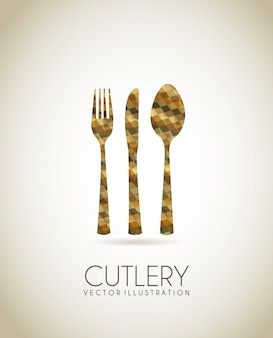 Cutlery bronze icons over beige background