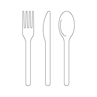Cutlery fork knife and spoon for food icon outline cutlery for lanch dish