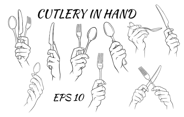 Cutlery. fork, spoon and knife in hand. cartoon style.