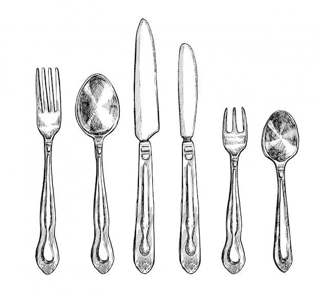 Cutlery freehand pencil drawing set