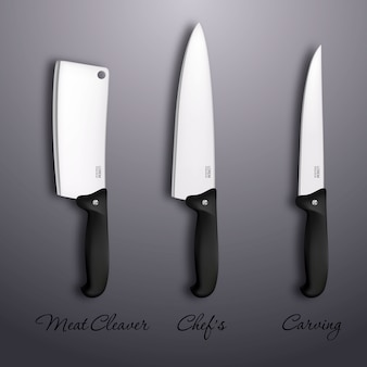 Cutlery icon set -   realistic kitchen knives isolated. design template