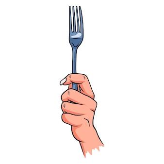 手にカトラリー。レストラン。手持ちの食品用カトラリー。漫画のスタイル。デザインと装飾のイラスト。