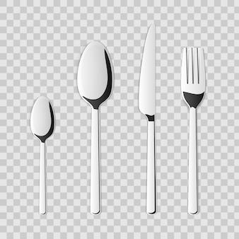 Cutlery set of silver kitchen fork, spoon, knife.
