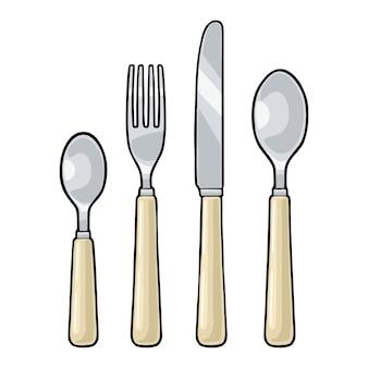 ナイフ、スプーン2杯、フォークがセットされたカトラリー。メニュー、ポスター、ラベルのベクトル色ヴィンテージ彫刻イラスト。白い背景で隔離