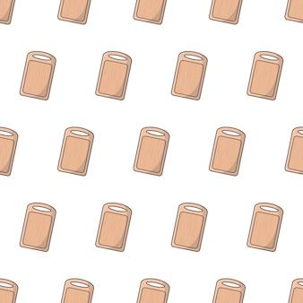 白い背景の上のまな板シームレスパターン。キッチンのテーマのベクトル図