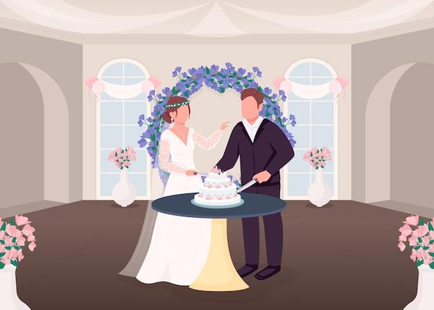 Нарезка торта традиция плоская цветная иллюстрация
