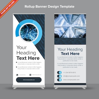 Cutting edge rollup banner in denim and sapphire blue