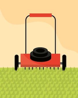 Cutting grass with lawn mower gardening illustration