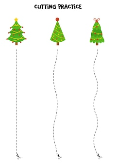 Cutting practice for children with cute cartoon christmas trees.